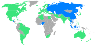 1952 Summer Olympics - Participating nations. Pictured in blue are nations participating for the first time. Yellow dot: Helsinki