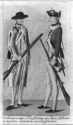 1 Americanischer Scharffschütz oder Jäger (Rifleman) 2 regulaire Infanterie von Pensylvanien.jpg