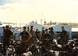 USS Tuscaloosa (LST-1187) - Marines from 1st Platoon, A Company, 1st Battalion, 3rd Marines aboard the USS Tuscaloosa at Naval Station Subic Bay in December 1989