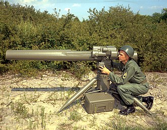 BGM-71 TOW - A U.S. Army soldier in 1964, with the first concept mock-up of Redstone Arsenal's proposed future HAW system (Heavy Antitank Weapon). The HAW ultimately resulted in the modern-day TOW.