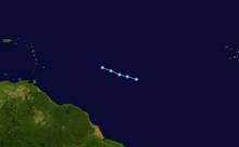 Track of a short-lived tropical depression across the Central Atlantic