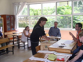 Turkish general election, 2007 - A woman casting her vote