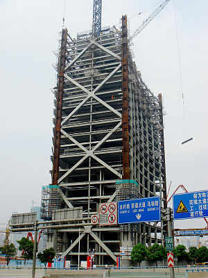 Construction photo of the Pearl River Tower