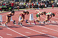 2013 IPC Athletics World Championships - 26072013 - Styliani Smaragdi of Greece, Megan Absten of USA, Anrune Liebenberg of South-Africa and Sheila Finder of Brasil during the Women's 100m - T46 first semifinal 3.jpg