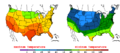 2015-10-13 Color Max-min Temperature Map NOAA.png