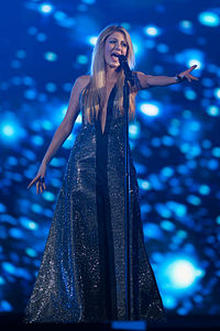 Maria Elena Kyriakou in stage of eurovision