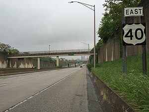 U.S. Route 40 in Maryland - View east along the cancelled I-170 (now US 40) in Baltimore City