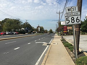 Maryland Route 586 - View west along MD 586 at MD 193 in Wheaton