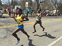 2016 Boston Marathon lead men at mile 19.jpg