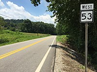 2017-07-24 12 49 04 View west along West Virginia State Route 53 just west of Newark Road (Wirt County Route 6) just east of Elizabeth in Wirt County, West Virginia.jpg