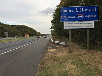 James J. Howard - James J. Howard Interstate Highway sign along I-195