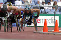 231000 - Athletics wheelchair racing 800m heat Paul Nunnari action - 3b - 2000 Sydney race photo.jpg