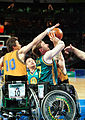 231000 - Wheelchair basketball Sandy Blythe shoots - 3b - 2000 Sydney match photo.jpg