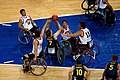 251000 - Wheelchair basketball Sandy Blythe shoots - 3b - 2000 Sydney match photo.jpg