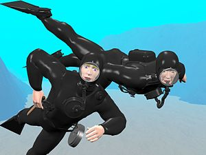 Siebe Gorman CDBA - 2 frogmen with Siebe Gorman SCBA (or similar) 1950's-type rebreathers