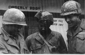 """2nd Ranger Infantry Company (United States) - Captain Warren Allen, company commander, 1st Lieutenant Vincent """"Willie"""" Wilburn, 2nd Platoon Leader, and 1st Lieutenant James """"Mother"""" Queen, the company's executive officer, in front of the company's command post at Tanyang Pass in 1951."""