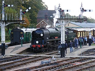 Horsted Keynes railway station - Image: 34028 Eddystone at Horsted Keynes railway station