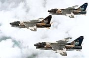 355th Tactical Fighter Squadron A-7D Corsair IIs in formation