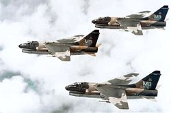 355th Tactical Fighter Squadron A-7D Corsair IIs in formation.jpg