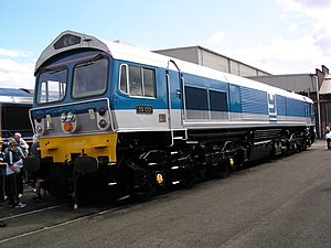 Privatisation of British Rail - 59001 in revised Foster Yeoman livery. Private ownership of locomotives marked the start of a new era in railfreight haulage