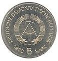 5 Mark DDR 1970 - 125. Geburtstag von Wilhelm Conrad Röntgen - Wertseite.JPG