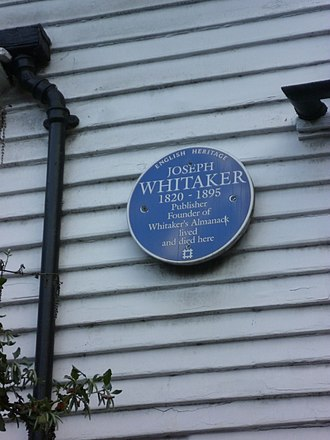 Joseph Whitaker (publisher) - Plaque to Whitaker on 68 Silver Street