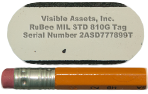 RuBee - A typical RuBee radio tag, about 1.5 x .75 by 0.07 inches. It has a 4 bit CPU, 1 to 5 kB of sRAM, crystal, and lithium battery with expected life of five years., a clock. It could optionally have sensors, displays and buttons