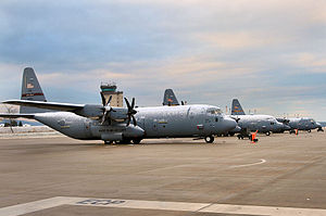 Third Air Force - Transient C-130s, similar to those operated by the 86th OG, on the ramp at Ramstein AB, Germany