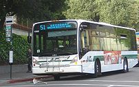 A new Van Hool bus on the 51 route in Berkeley