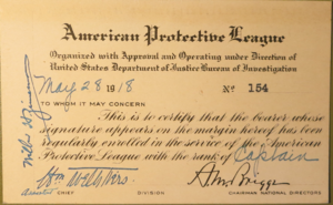 American Protective League - An American Protective League membership card