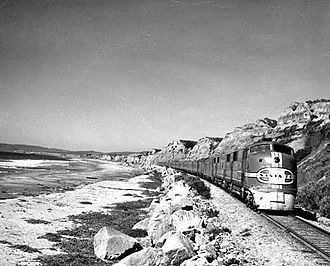 San Diegan (train) - The San Diegan, led by a pair of EMC E1 locomotives, rolls south along the Pacific Coast through San Clemente.