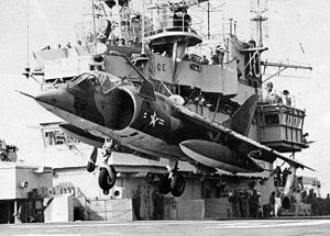 AV-8A VMA-513 on USS Tripoli (LPH-10) 1974.jpg