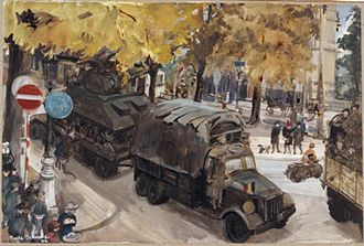 Stella Schmolle - A Convoy Moving Up to the Front, Avenue Louise, Brussels - October 1944 (Art.IWM ART LD 4995)