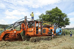 Trencher (machine) - A wheel trencher in South Africa