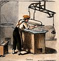 A man is making candles. Coloured lithograph. Wellcome V0039728.jpg