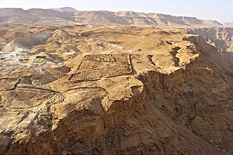 A Roman siege camp on the mountain next to Masada