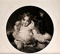 A young girl with a younger child on her lap. Engraving afte Wellcome V0038788.jpg