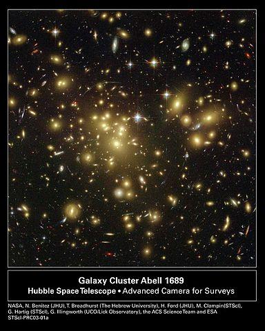Citra di atas menampilkan gugus galaksi dengan lensa gravitasional yang berdiameter sangat besar, yaitu 2 juta tahun cahaya; ini adalah gambar dari gugus galaksi Abell 1689. Efek lensa itu dihasilkan medan gravitasi gugusan dan membelokkan cahaya sehingga gambar salah satu benda yang lebih jauh diperbesar dan terdistorsi.