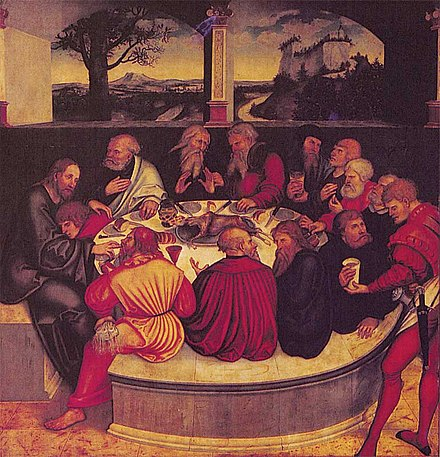 A Lutheran depiction of the Last Supper by Lucas Cranach the Elder, 1547. Abendmahl-1547-LC.jpg