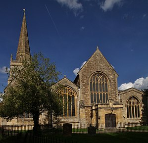 St Helen's Church, Abingdon - spire (left) and west front