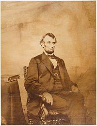 Abraham Lincoln O-92 Imperial Albumen by Brady, 1864.jpg