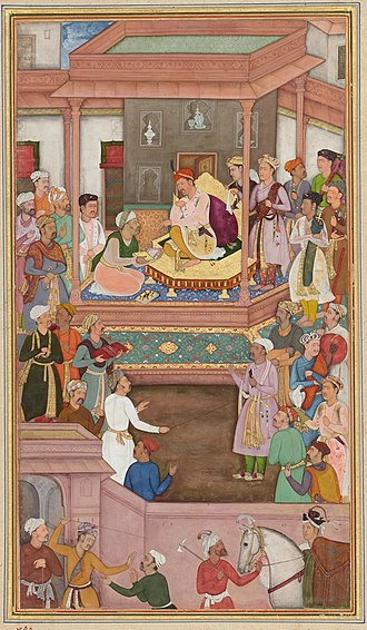 Din-i Ilahi - Abu'l-Fazl, one of the disciples of Din-i-Ilahi, presenting Akbarnama to Akbar, Mughal miniature