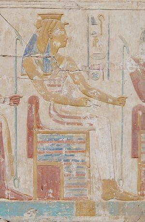 Heqet - Anthropomorphic depiction of Heqet in the temple relief of Ramesses II in Abydos.