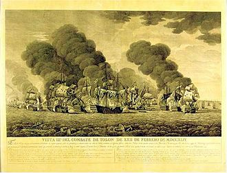 Battle of Toulon (1744) - Engraving of the Battle (1796) Naval museum of Madrid.