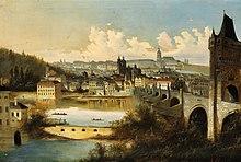 Tableau représentant le pont Charles à droite, avec sa tour, la rivière au premier plan et la ville au second plan avec la cathédrale et le quartier du château à l'arrière-plan.