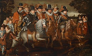 Maurice, Prince of Orange - The Cavalcade of princes of the House of Orange and Nassau, 1. Front Row: Maurice (1567–1625), Philip William (1558–1618), Frederick Henry (1584–1647), 2. Second Row: William Louis (1560–1632), Ernst Casimir (1573–1632) und Johann Ernst. after a print by W. J. Delff (1621) after a painting from A. P. van de Venne