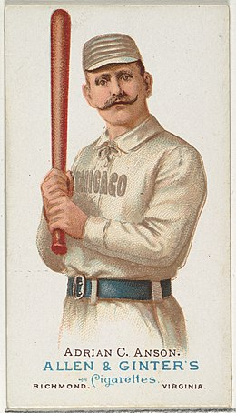 "Adrian Anson depicted on an Allen & Ginter cigarette card, c. 1887 Adrian ""Cap"" Anson, Baseball Player, from World's Champions, Series 1 (N28) for Allen & Ginter Cigarettes MET DP838205.jpg"