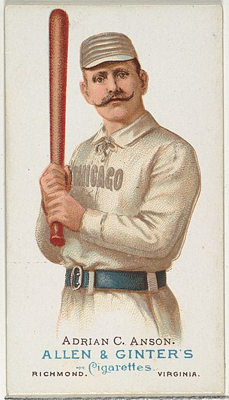 Trading card - Adrian Anson depicted on an Allen & Ginter cigarette card, c. 1887