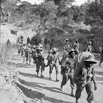 11th (East Africa) Division - Men of the 11th Division on the road to Kalewa, Burma after crossing the Chindwin River, 1945