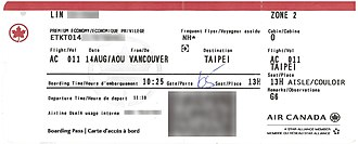 Boarding pass - Modern boarding pass for Air Canada